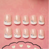 24pcs/Set Simple Pink French False Nails Short Rhinestone Round Full Nails - Slim Body Secret