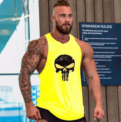 2018 Skull Bodybuilding Fitness Vest Undershirt Tank Tops - Slim Body Secret