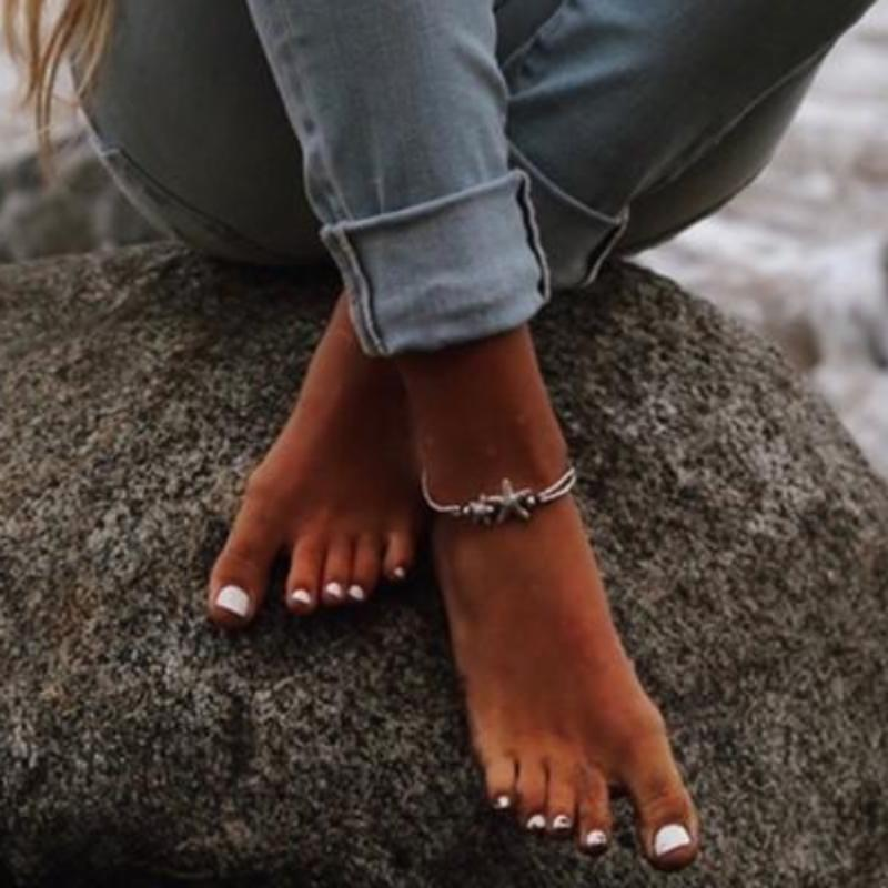 Starfish Silver Anklet