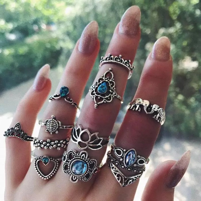 Crystal Heart Ring Set