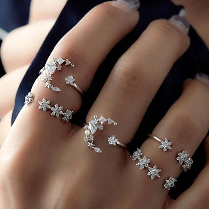Moon Star Ring Set