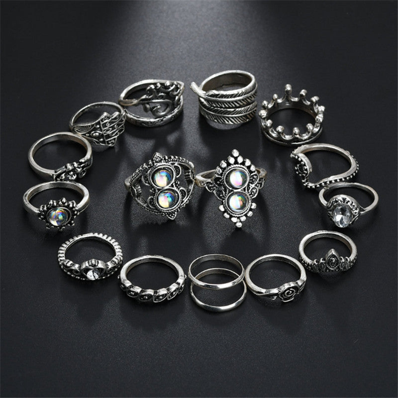 Charm Rhinestone Ring Set