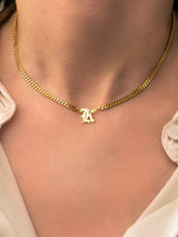 Old English Letter Curb Necklace