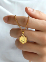 Hexagon Letter Necklace