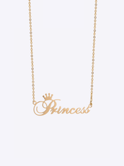 Cursive Crown Name Necklace