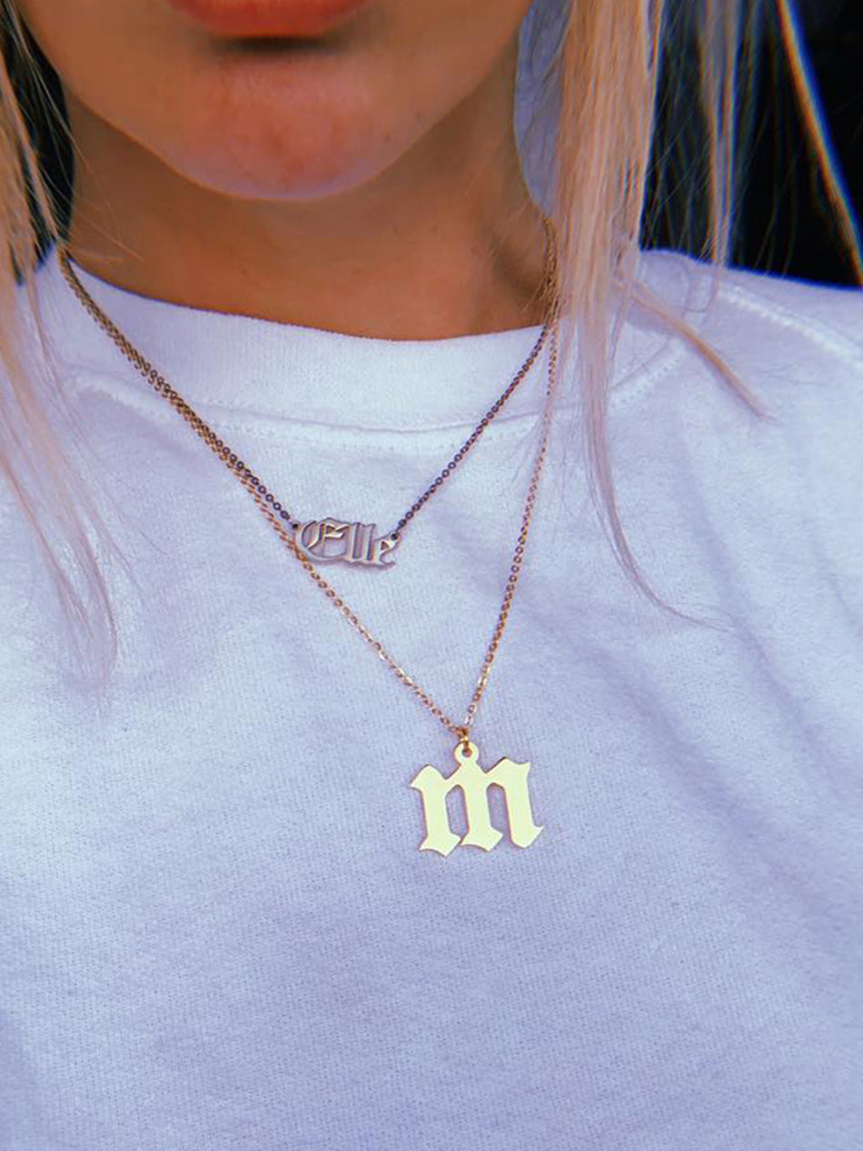 Old English Letter Necklace