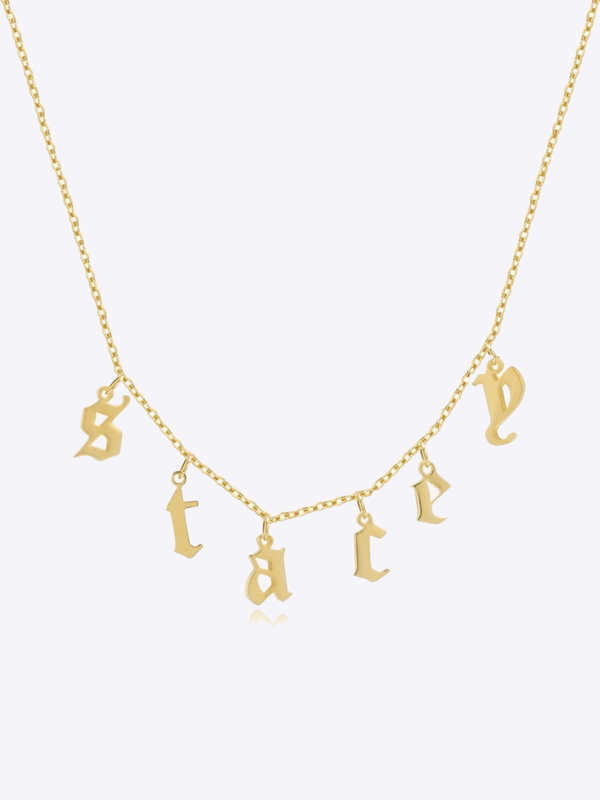 Old English Drop Letter Necklace