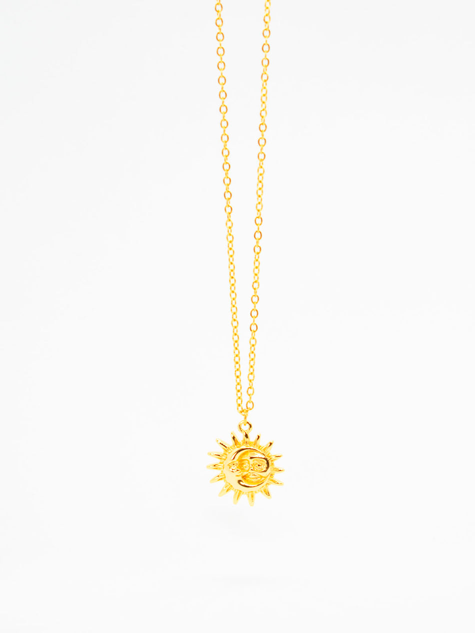 Bohemian Moon and Sun Face Necklace