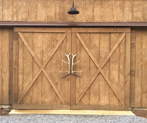 Large Elk Barn Door Set by Antler Artisans