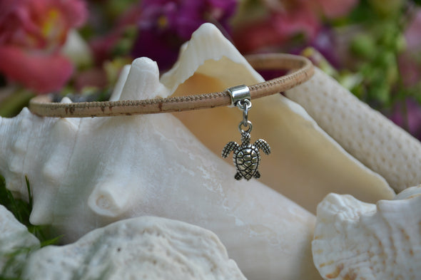 Turtle Beige Cork Anklet for Women - Beach Jewelry - Girlfriend Gift