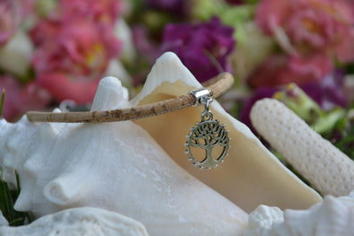 Tree of Life Ankle Bracelet on Natural Cork - Beach Jewelry