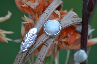Triple cork wrap with white stone and feather ~ natural cork bracelet