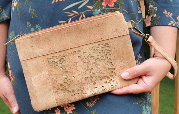 Natural Cork Wristlet with Gold