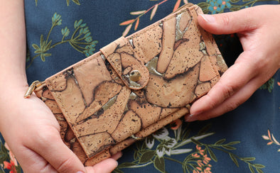 Natural Cork with Silver Slim Wallet