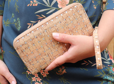 Natural Cork with Silver Wallet with Wristlet Strap