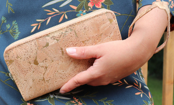 Natural Cork with Gold Wallet with Wristlet Strap