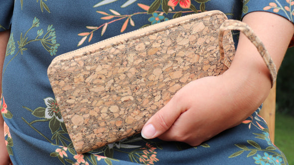Natural Grain Cork Wallet with Wristlet Strap