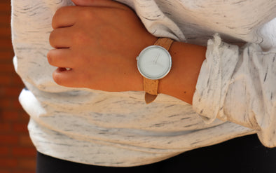 Cork watch - white & silver with natural cork band - women