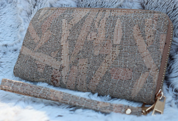 Snake Skin Patterned Cork Wallet with Wristlet Strap