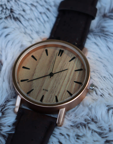 Dark Brown Cork Watch