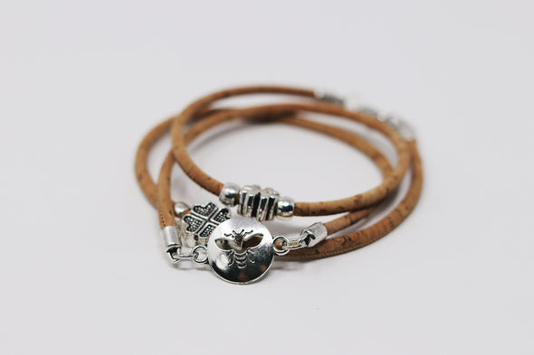 Triple wrap cork bracelet - Support the Bees!