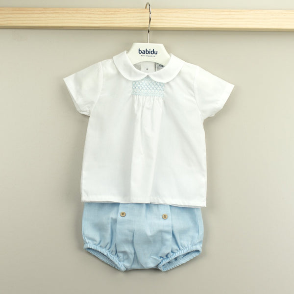 Babidu Baby Boys White & Blue Shorts Set