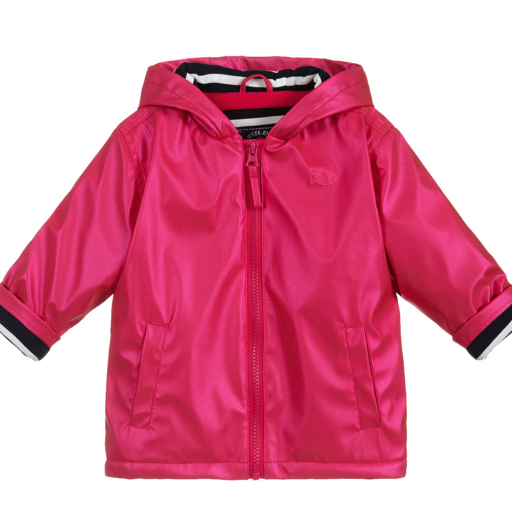 Weekend à la Mer Girls Metallic Pink Fleece Lined Raincoat