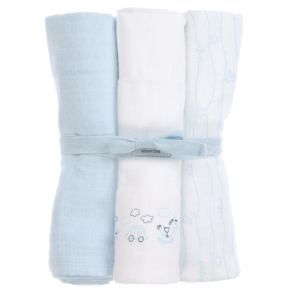Absorba Blue Cotton Muslins 3 Pack