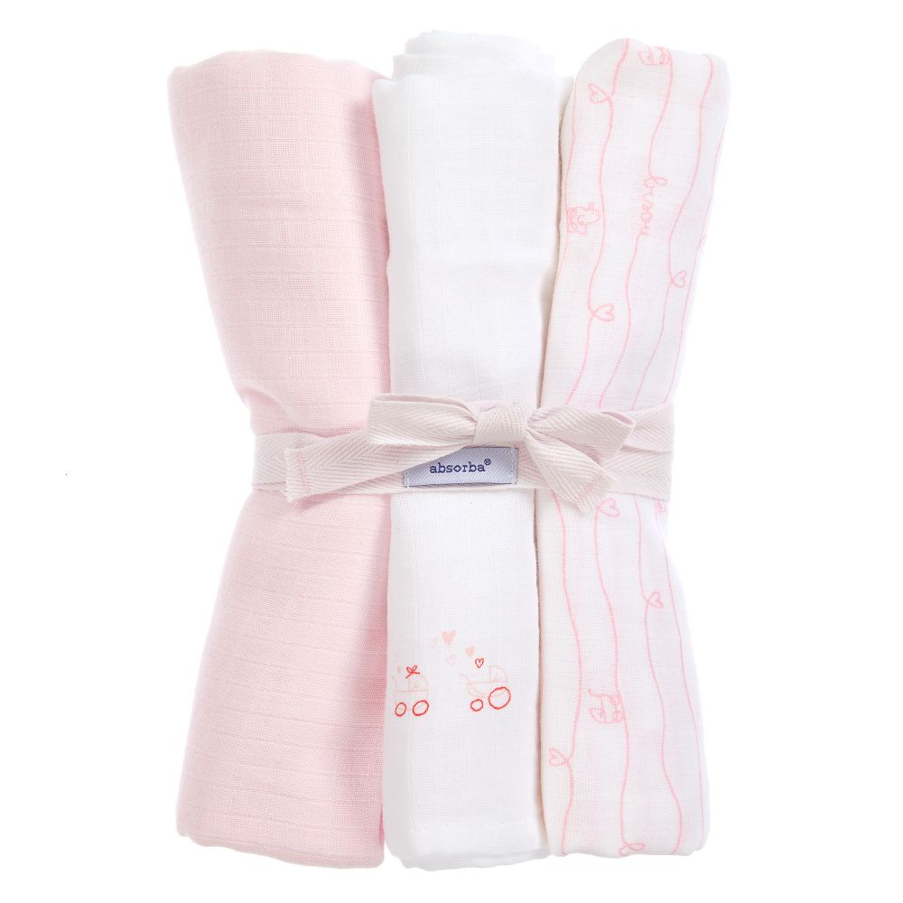 Absorba Pink Cotton Muslins 3 Pack