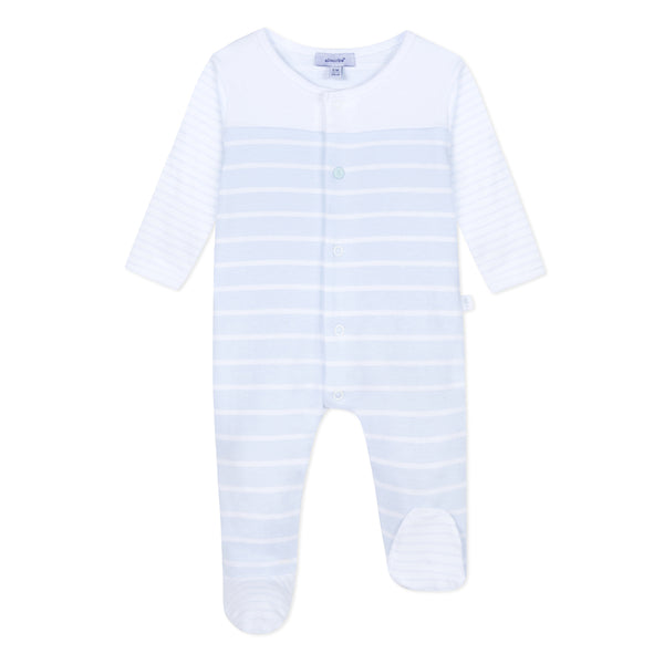 Absorba Baby Boys White & Blue Stripe Babygrow