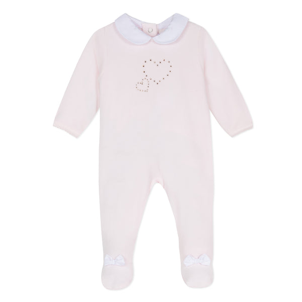 Absorba Pink Velour Babygrow with Swarovski Crystals