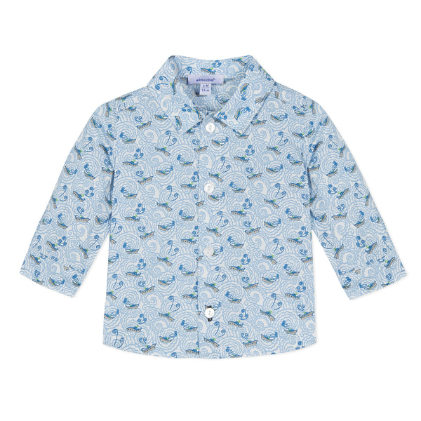 Absorba Boys Blue Liberty Print Shirt