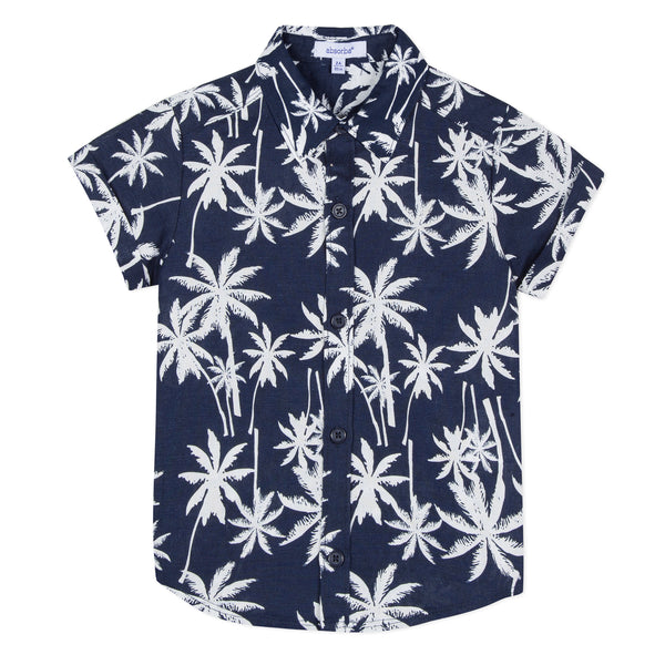Absorba Boys Navy Hawaiian Print Shirt
