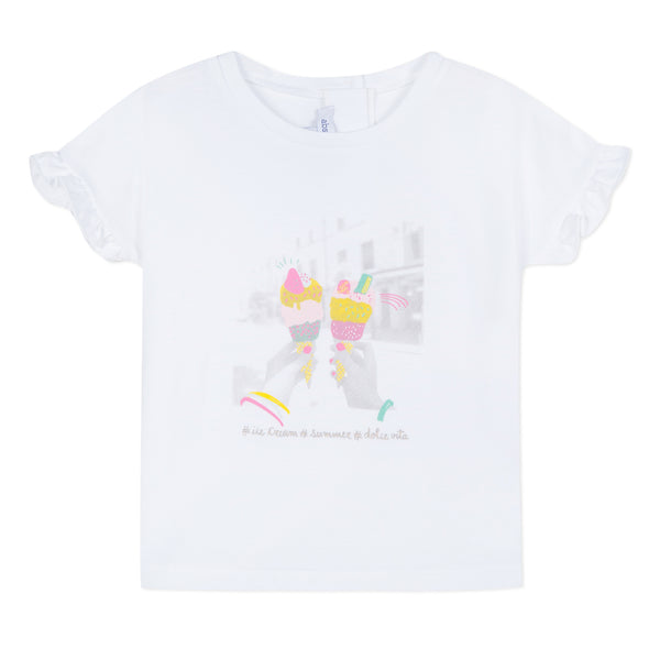 Absorba Girls White Ice Cream Print T-Shirt