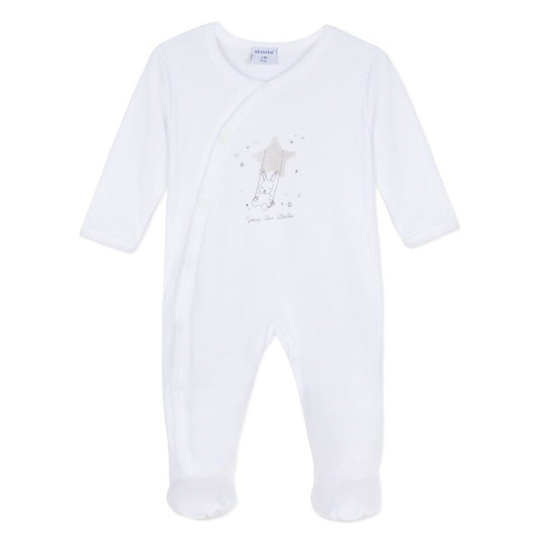 Absorba White Bunny Cotton Babygrow