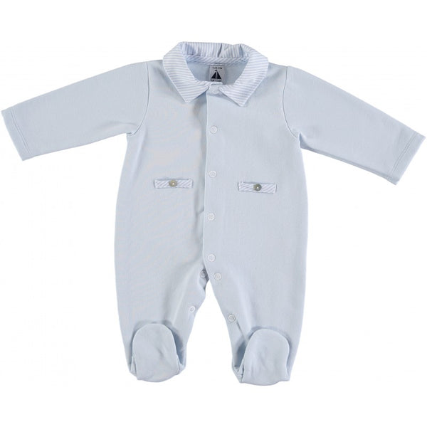 Babidu Baby Blue Cotton Velour Babygrow