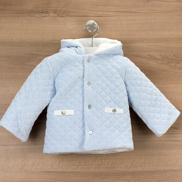 Babidu Baby Blue Quilted Velour Hooded Jacket