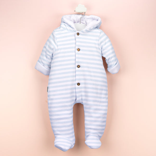 Babidu Baby Blue Striped Padded Pramsuit