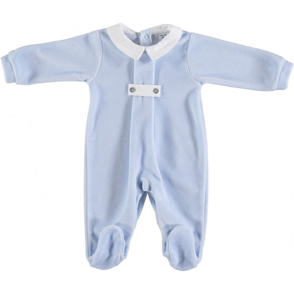 Babidu Baby Blue & White Cotton Velour Babygrow