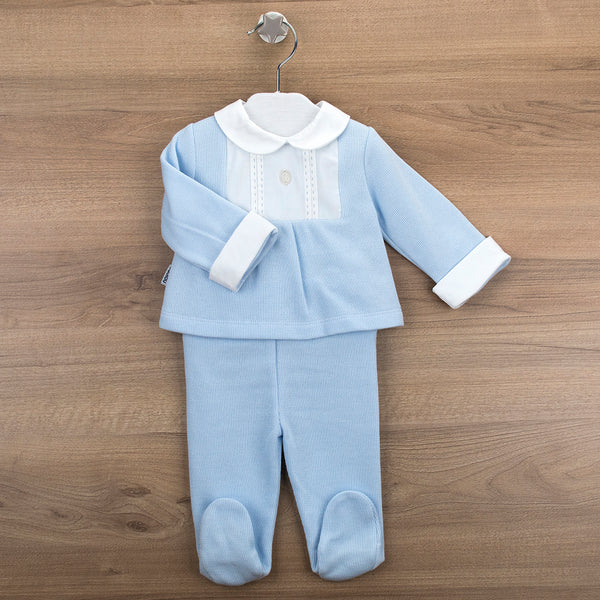 Babidu Baby Boys Blue & White Cotton Two Piece Set