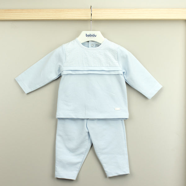 Babidu Baby Boys Blue Cotton Jersey Trouser Set