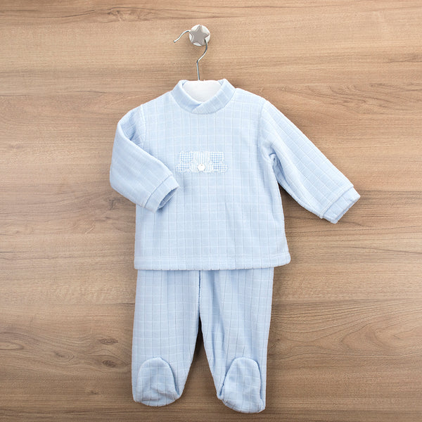Babidu Baby Boys Blue Velour Two Piece Set