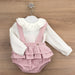 Babidu Baby Girls Dusky Pink Tweed Shorts Set