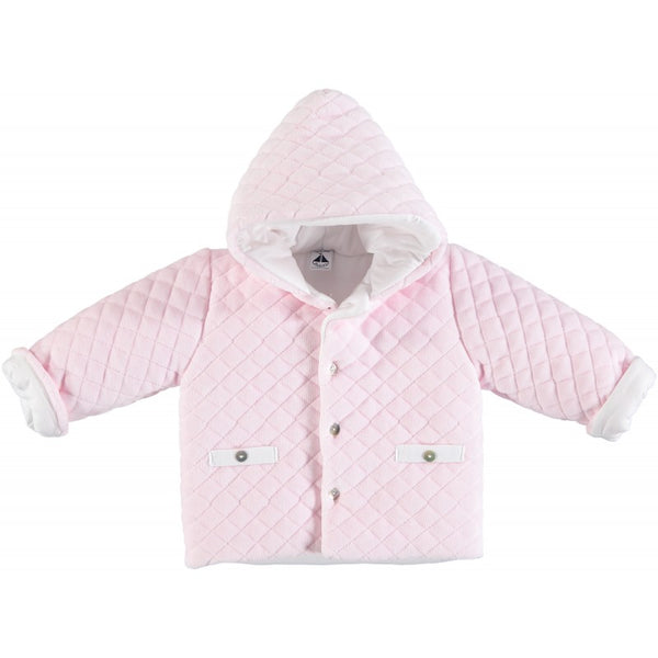 Babidu Baby Pink Quilted Velour Hooded Jacket