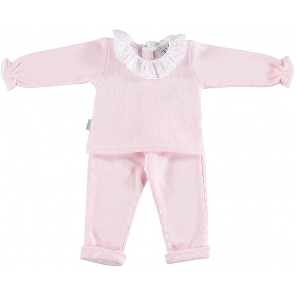 Babidu Baby Girls Pink Cotton Two Piece Set