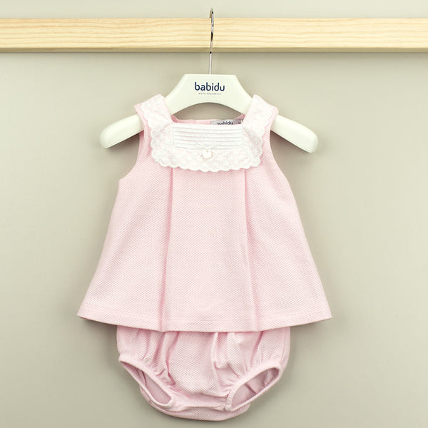 Babidu Baby Girls Pink Cotton Waffle Dress Set