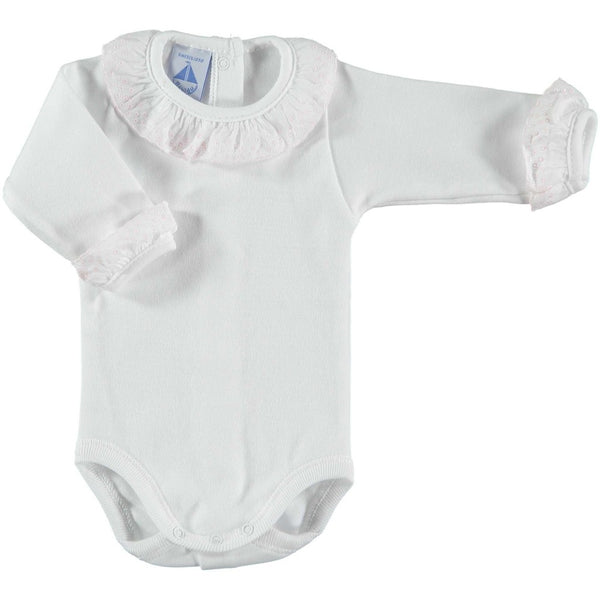Babidu White Cotton & Pink Frill Bodysuit