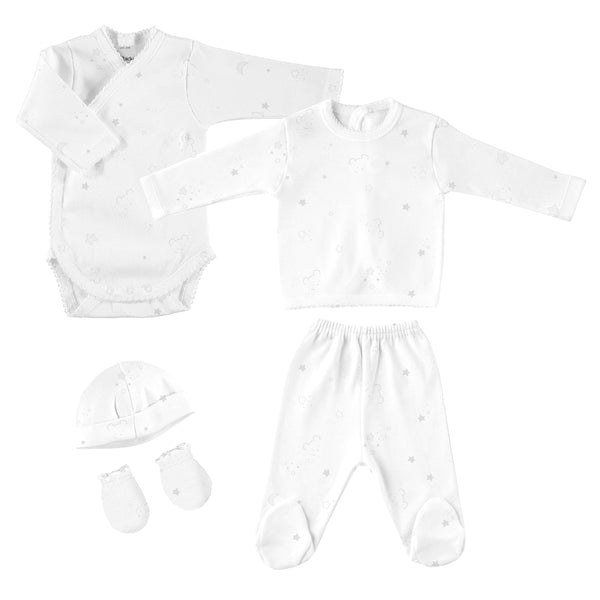 Babidu Grey Bear Print Newborn Gift Set