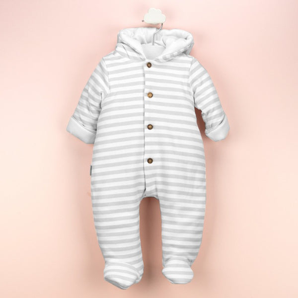 Babidu Baby Grey Striped Padded Pramsuit
