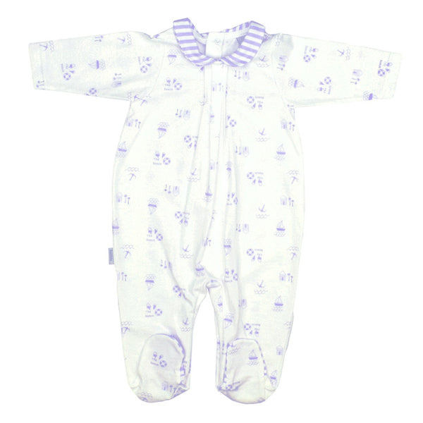 Babidu Baby Navy Beach Print Cotton Babygrow